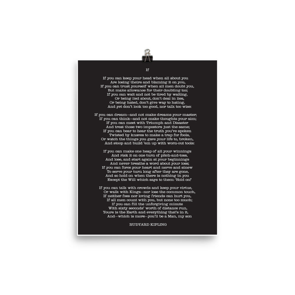 Poster - Book Quotes, If, R. Kipling