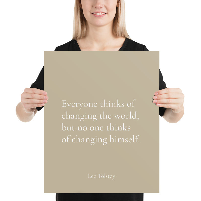 Poster - Book Quotes, Everyone thinks of changing the world, L.Tolstoy