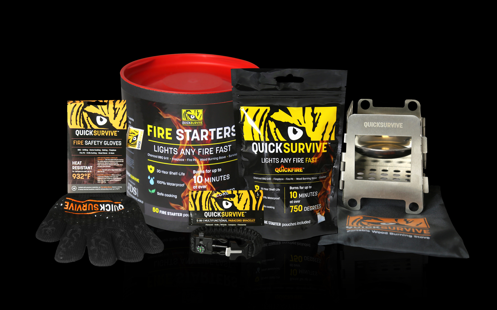 QuickSurvive Fire starters - Formerly QuickFire - The Most Versatile Fire Starters - Outdoors Forest and Camping