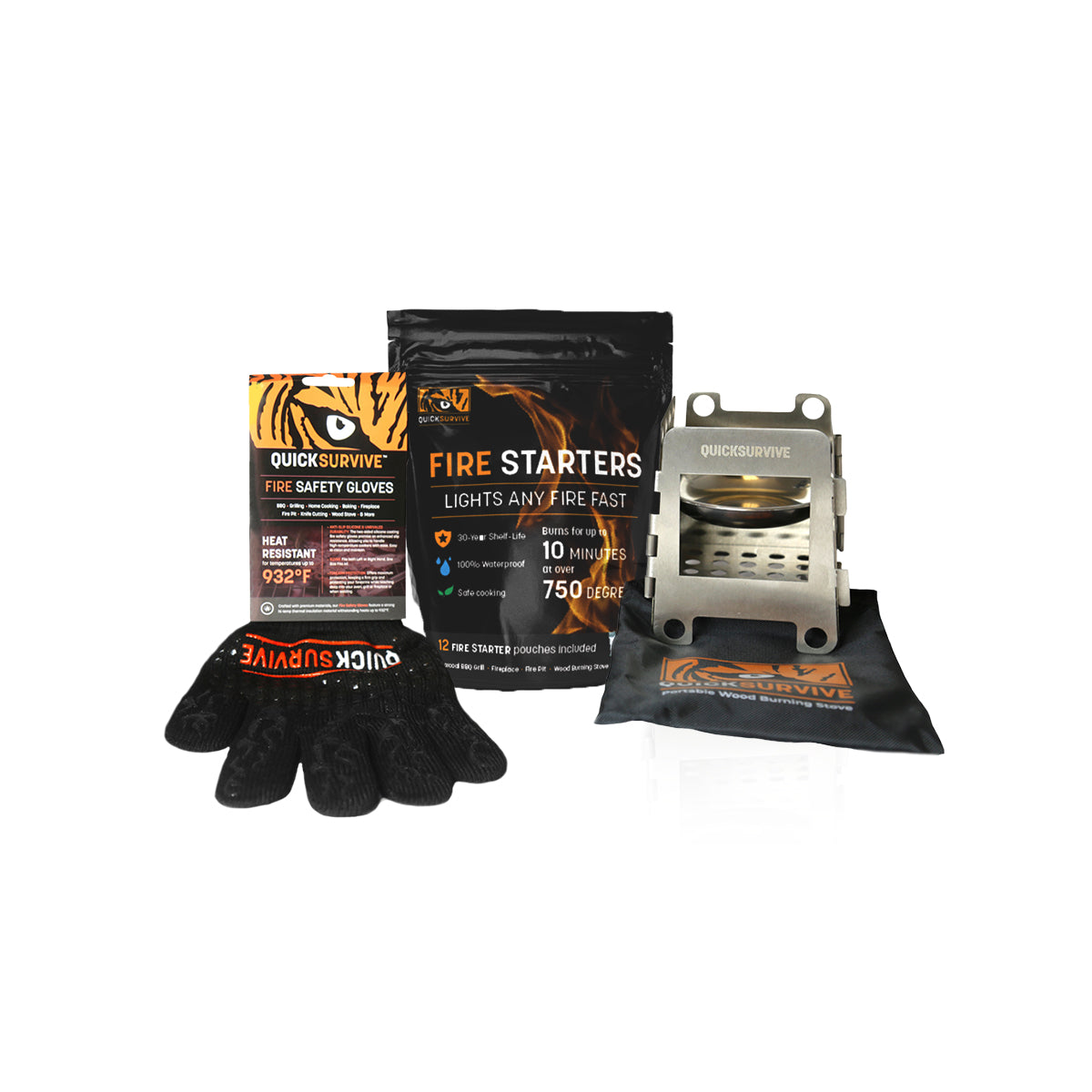 3 Piece Bundle - FIRE SAFETY GLOVE + 12 FIRE STARTERS + PORTABLE CAMPING STOVE - QUICKSURVIVE