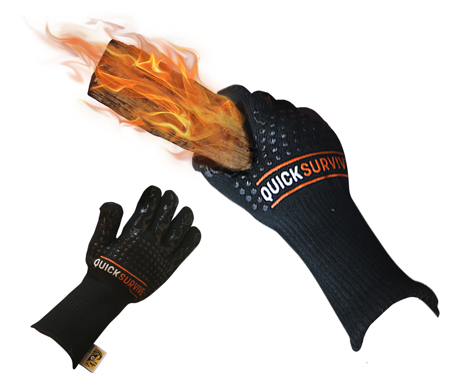 Heat Resistant Fire Safety Glove - QUICKSURVIVE, the highest heat protection grabbing hot fireplace and campfire log