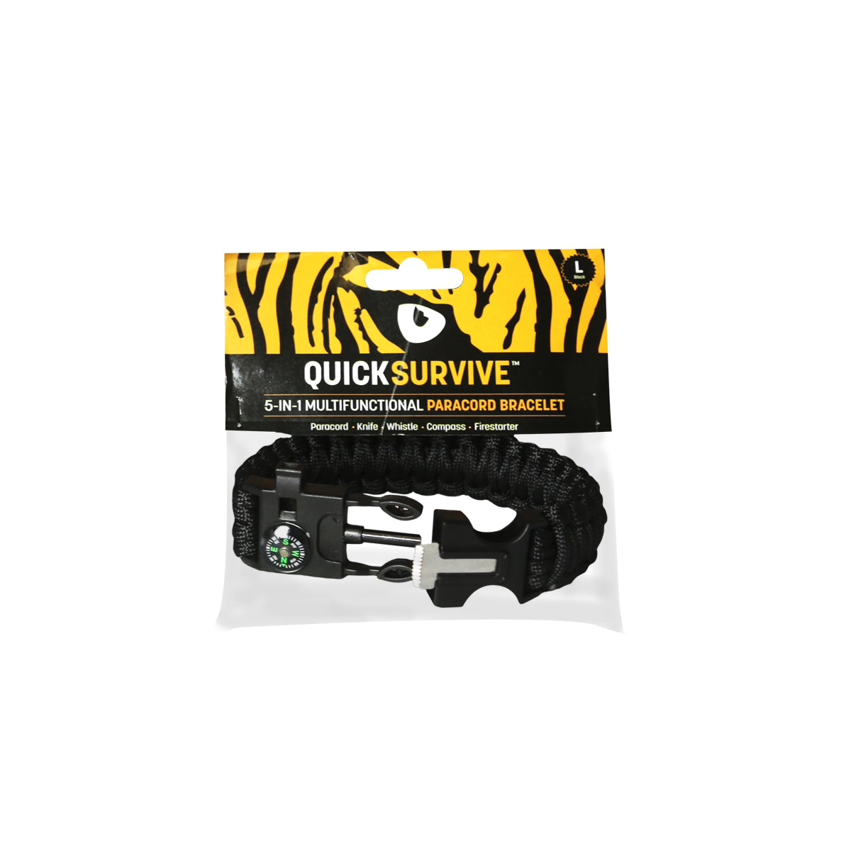 5-in-1 Paracord Bracelet - QUICKSURVIVE essential for survival with the 10 feet of paracord, 100db whistle, compass, and knife all on your wrist.