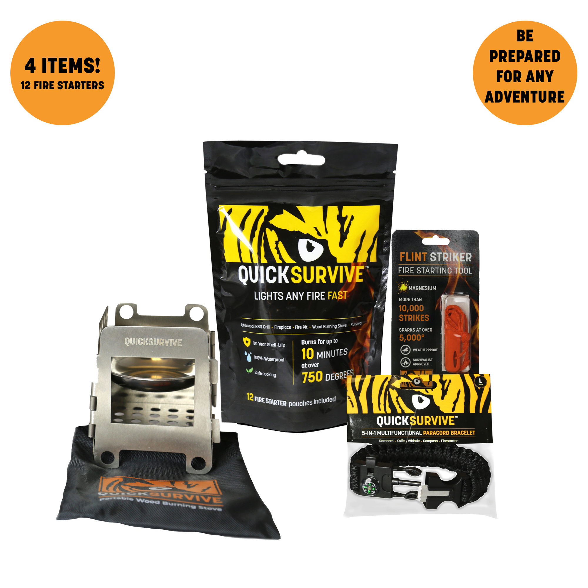 QuickSurvive Outdoor Adventure Bundle - 12 Piece of the Best Waterproof FireStarters For Fireplaces and Camping - Portable Mini Wood Burning Survival Stove Folding Portable, collapsible and lightweight for backpacking hiking Picnic Survival - Flint Striker For Camping and Survival 10,000 Strikes - 5-in-1 Paracord Bracelet essential for survival with the 10 feet of paracord, 100db whistle, compass, and knife all on your wrist.
