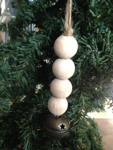 Wooden Bead Farmhouse style Ornament with Bell