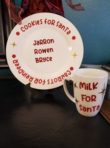Santa plate and mug personalized