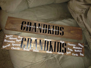 Personalized sign with last name or Grandma, Mom, Grandpa, Dad and first names.  Completely personalized for you.