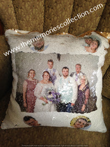 Sequin Flip Pillow with Photo added
