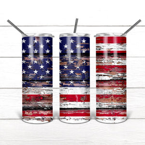 Rustic Flag 20 oz. Stainless Steel Tumbler