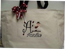 Load image into Gallery viewer, Gymnastics Tote Bag Personalized with name  soccer dance twirler