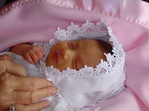 Baby hankie Handkerchief Magic Bonnet for baptism christening going home turns handkerchief for wedding Venice lace SATIN MONOGRAMMED