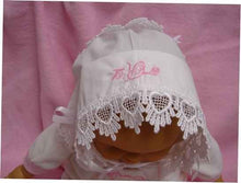 Load image into Gallery viewer, Baby hankie Handkerchief Magic Bonnet for baptism christening going home turns handkerchief for wedding Venice lace SATIN MONOGRAMMED