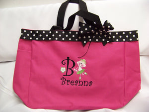 Dance Ribbon top Tote Bag Personalized with name YOU choose color Perfect Christmas gift soccer dance twirler