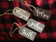 Load image into Gallery viewer, Christmas Stocking Tags or Rustic Farmhouse Ornament Personalized with first name  Stained brown or gray