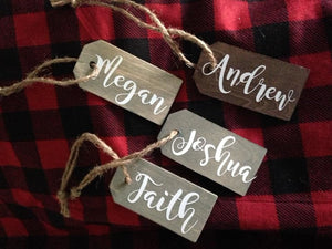 Christmas Stocking Tags or Rustic Farmhouse Ornament Personalized with first name  Stained brown or gray