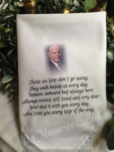 Load image into Gallery viewer, Custom Memory Memorial Handkerchief for wedding or funeral.  Can be personalized.  Your loved one's photo added Baptism hankie. Handmade