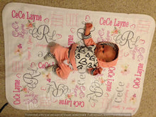 Load image into Gallery viewer, Fleece Personalized Baby Blanket with name and monogram initials