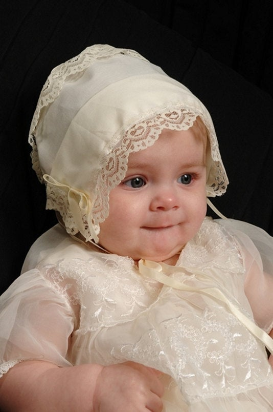 Ivory Heart Lace Baby Handkerchief Magic Bonnet