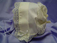 Load image into Gallery viewer, Ivory Heart Lace Baby Handkerchief Magic Bonnet