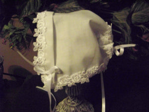 Baby Wedding Baptism Magic Bonnet with Venice Lace Roses