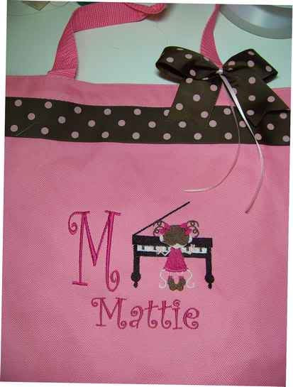 Piano Personalized tote bag with Ribbon enhancements.  Piano student or teacher Gift