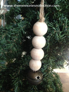 Wooden Farmhouse Christmas Ornaments with Wooden Beads