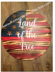 Circle Round Flag Distressed signs Personalized 24""