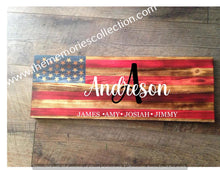 Load image into Gallery viewer, Flag Distressed signs Personalized or Plain stained and personalized