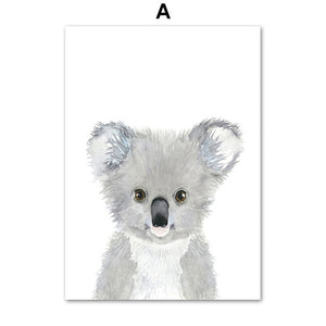 Cartoon Fox Koala Deer Rabbit Squirrel Posters And Prints Wall Art Canvas