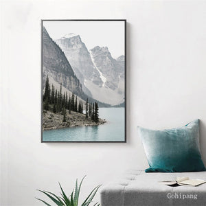 Nordic Landscape Mountain Lake Canvas Paintings