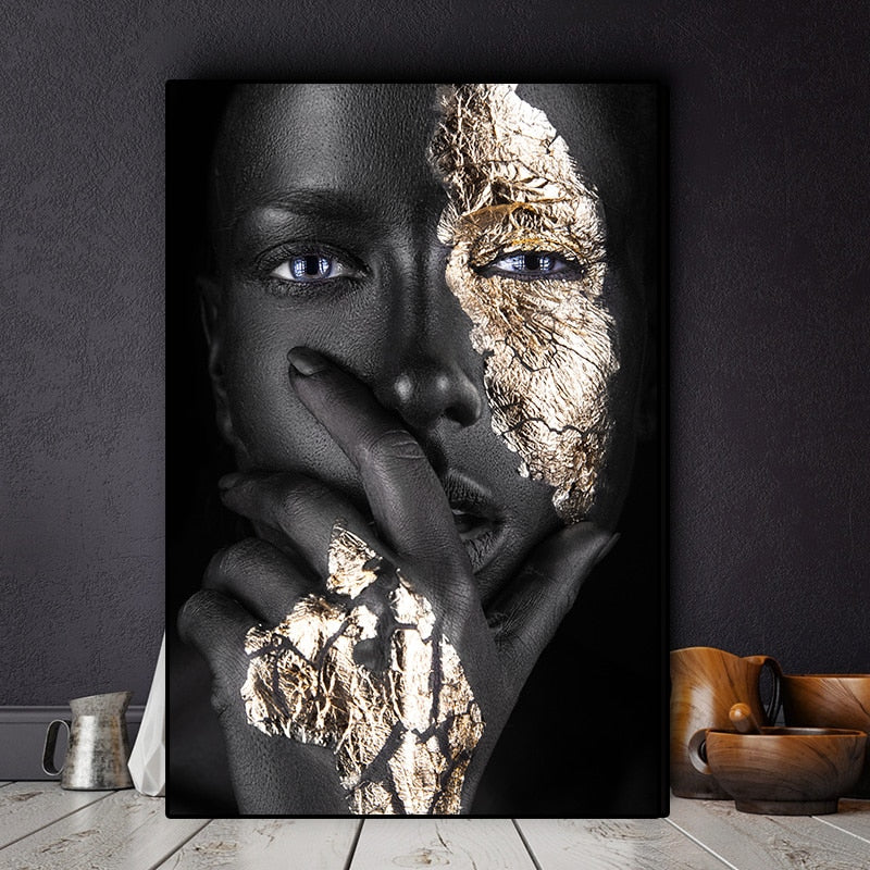 African Art Black and Gold Woman Oil Painting on Canvas Print