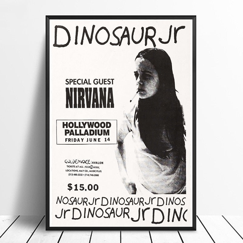Nirvana Dinosaur Jr. Hollywood Palladium poster (1991) Vintage Gig Print