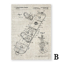 Load image into Gallery viewer, Snowboard Patent Abstract Canvas