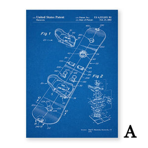 Snowboard Patent Abstract Canvas