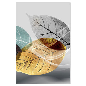 Abstract Black and White Plant Poster Canvas Print Leaves Wall Art