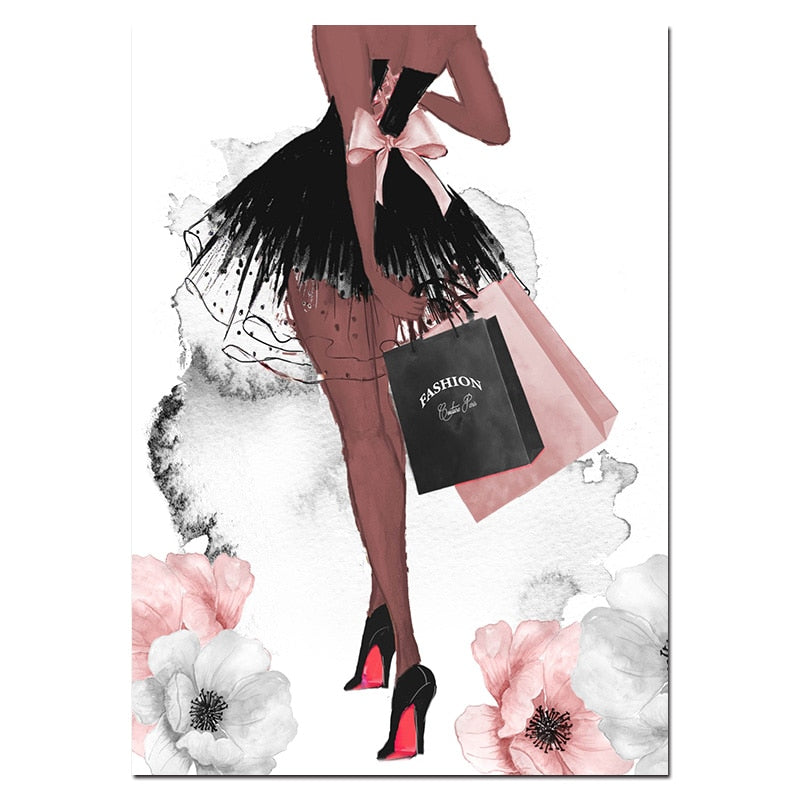 Fashion Wall Art Perfume Lips Poster High Heels Canvas