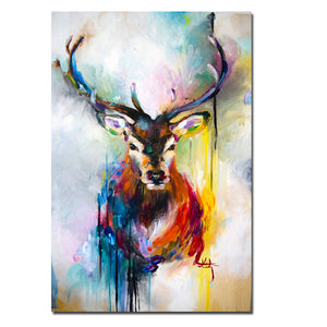 Pop Art Canvas Painting Nordic Animal Deer Canvas Print Posters Unframed