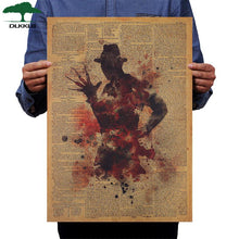 Load image into Gallery viewer, Classic Horror Movie Poster Freddy Krueger Vintage Kraft Paper 50.5x36cm Wall Sticker Home Bar Cafe Decoration Painting