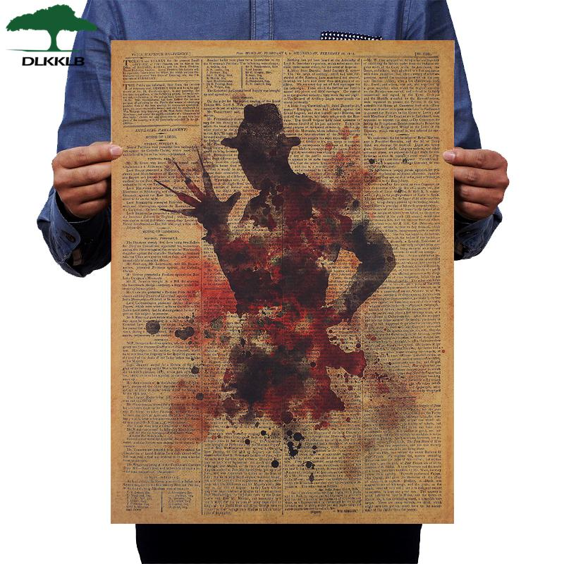 Classic Horror Movie Poster Freddy Krueger Vintage Kraft Paper 50.5x36cm Wall Sticker Home Bar Cafe Decoration Painting