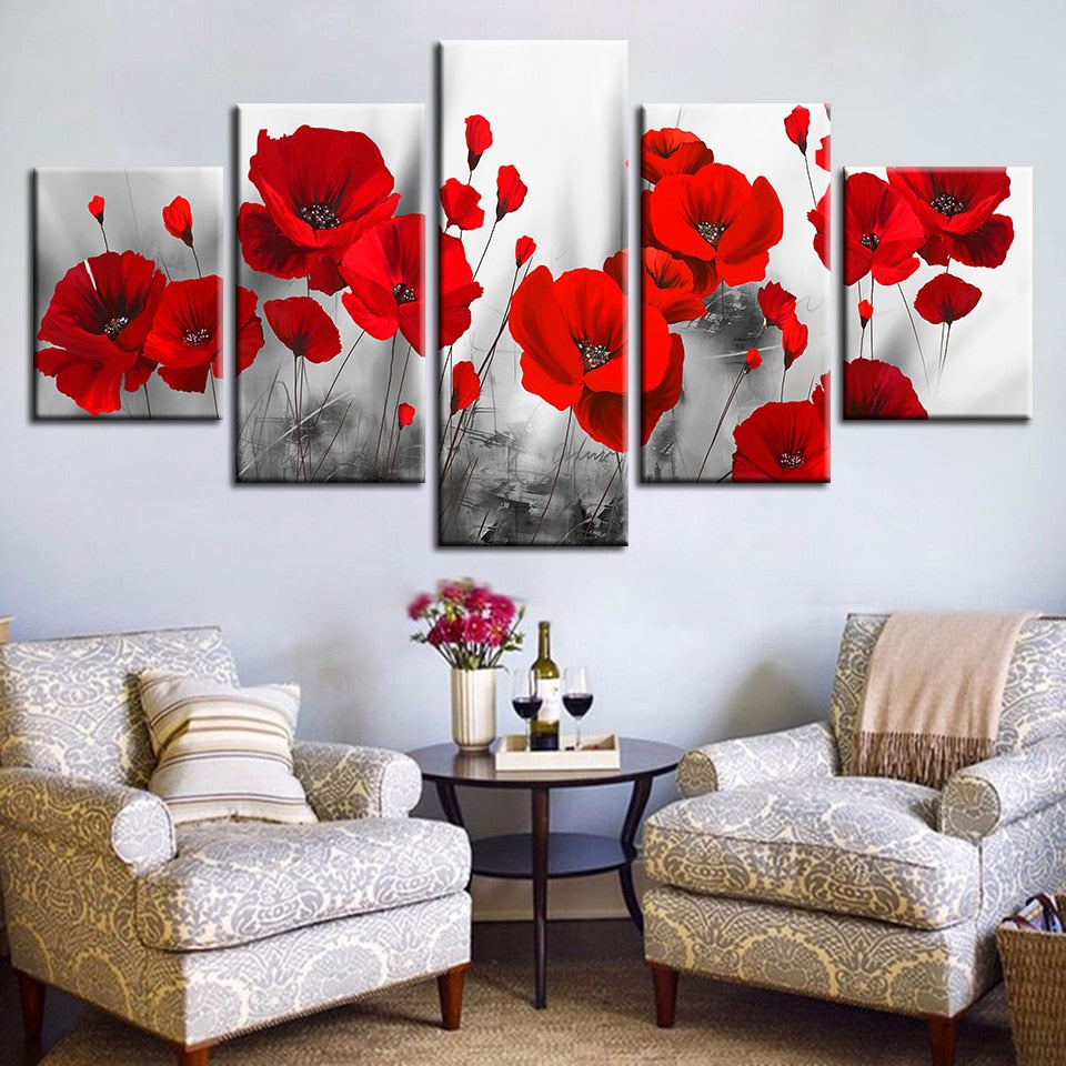 Wall Art Frameless 5 Pieces Romantic Poppies Paintings Red Flowers Poster Modular