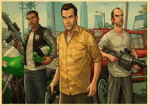 Grand Theft Auto 5 Game Art Retro Poster