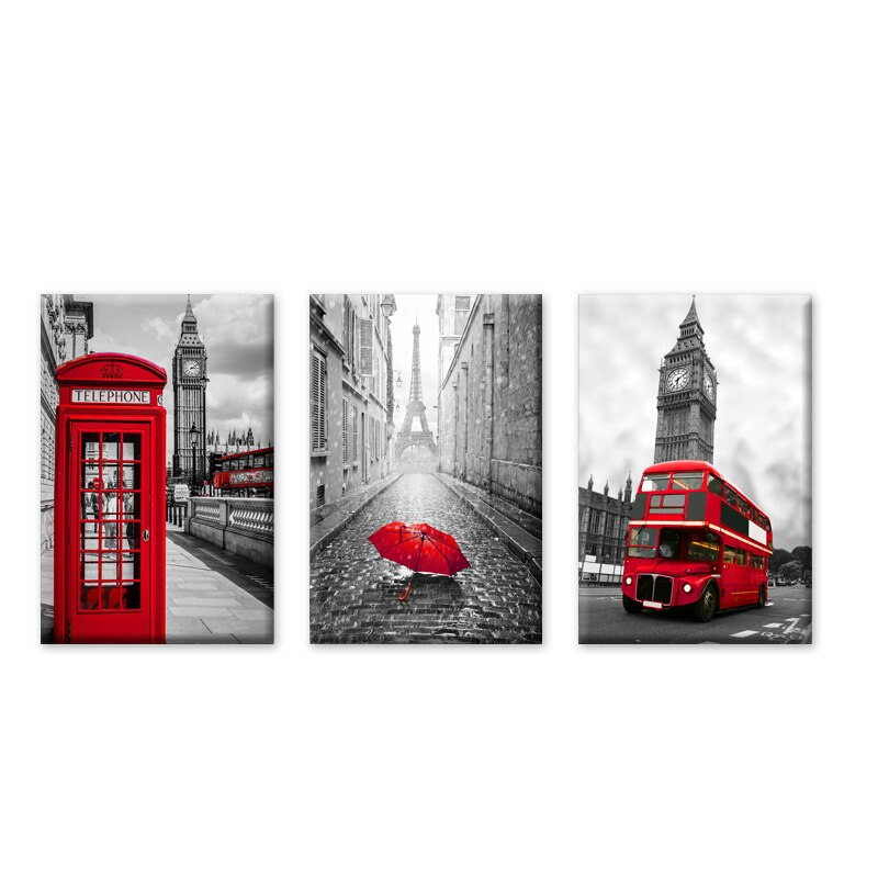 Posters And Prints Paintings City London Paris Landscape X 3