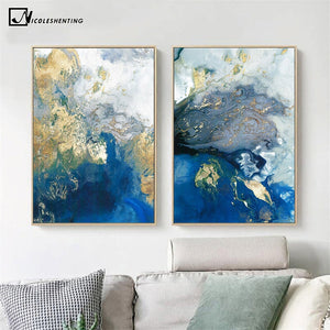 Blue Golden Modern Abstract Ocean Wall Poster