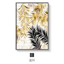 Load image into Gallery viewer, Nordic plants Golden leaf canvas painting posters