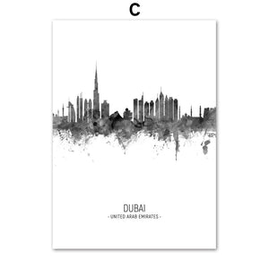 City Skylines hd ink painting poster - Dubai