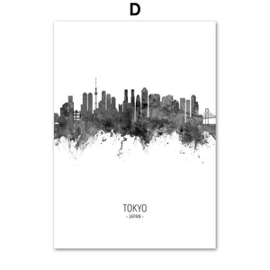 City Skylines hd ink painting poster