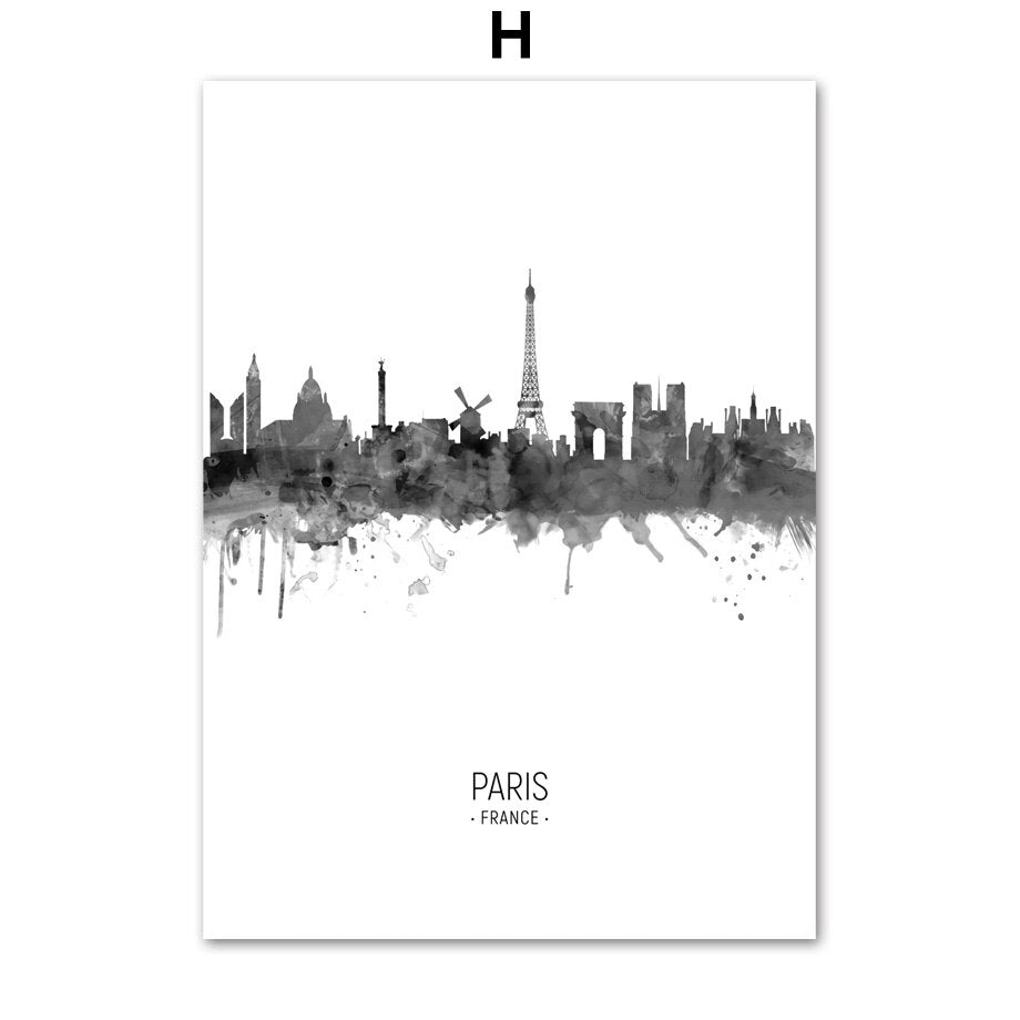 City Skylines hd ink painting poster - Paris