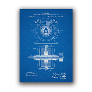 Tesla Alternating Current Generator Patent Artwork Prints
