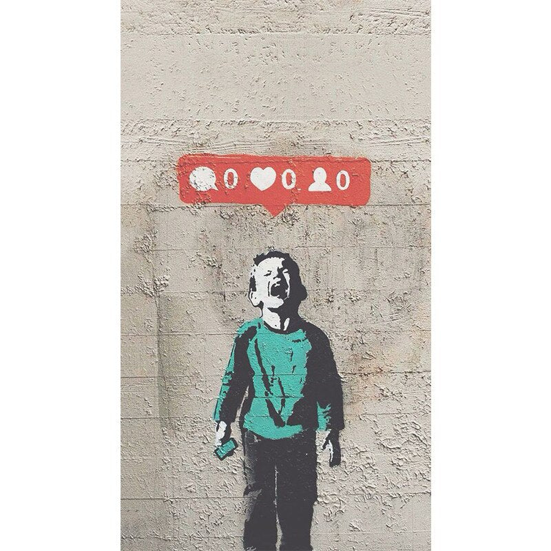 Graffiti Bansky Wall Art Posters And Prints  Pictures More Likes Crying Boy Art Print Canvas Painting