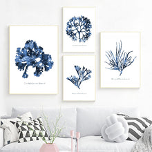 Load image into Gallery viewer, Sea Coral Posters Coastal Beach Nautical Art Canvas Painting Watercolor Blue Pictures