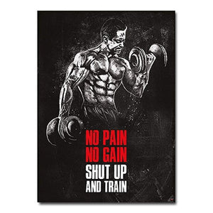Muscle Bodybuilding Fitness Motivational Quotes Art Canvas